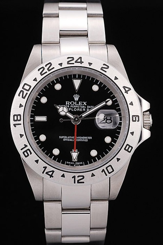 Replique Rolex Explorer Stainless Steel Tachymeter Black Dial